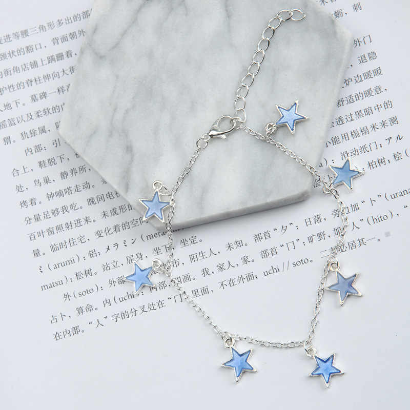Hot style luminous lady beach breeze blue pentagon star tassel silver chain ankle chain wholesale for barefoot women sandals