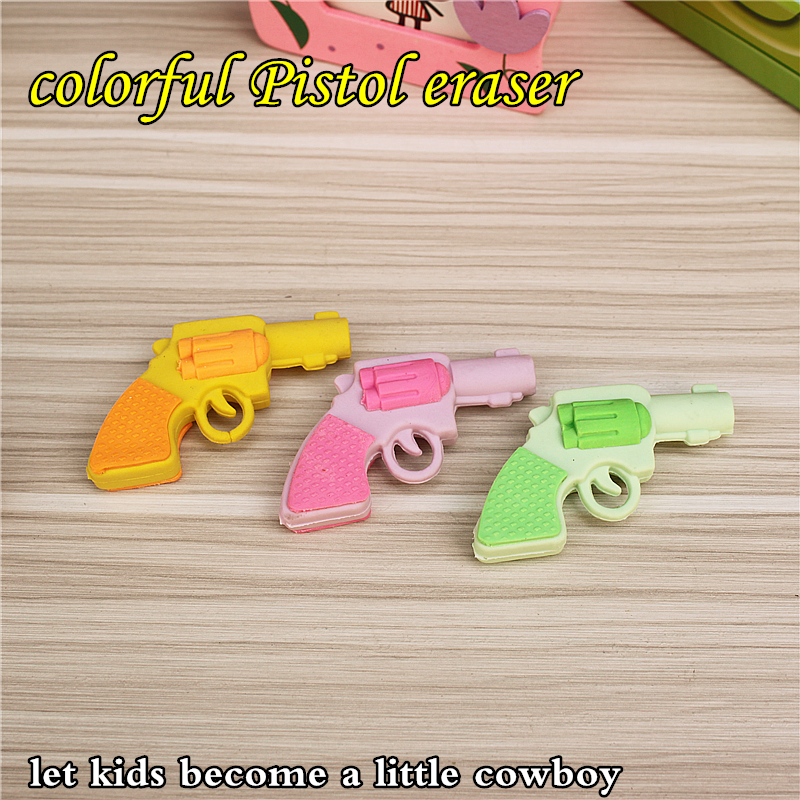 Colorful Gun Shape Eraser Very Cute Kawaii Large Erasers For Kids Or School Gift Stationery Free Shipping