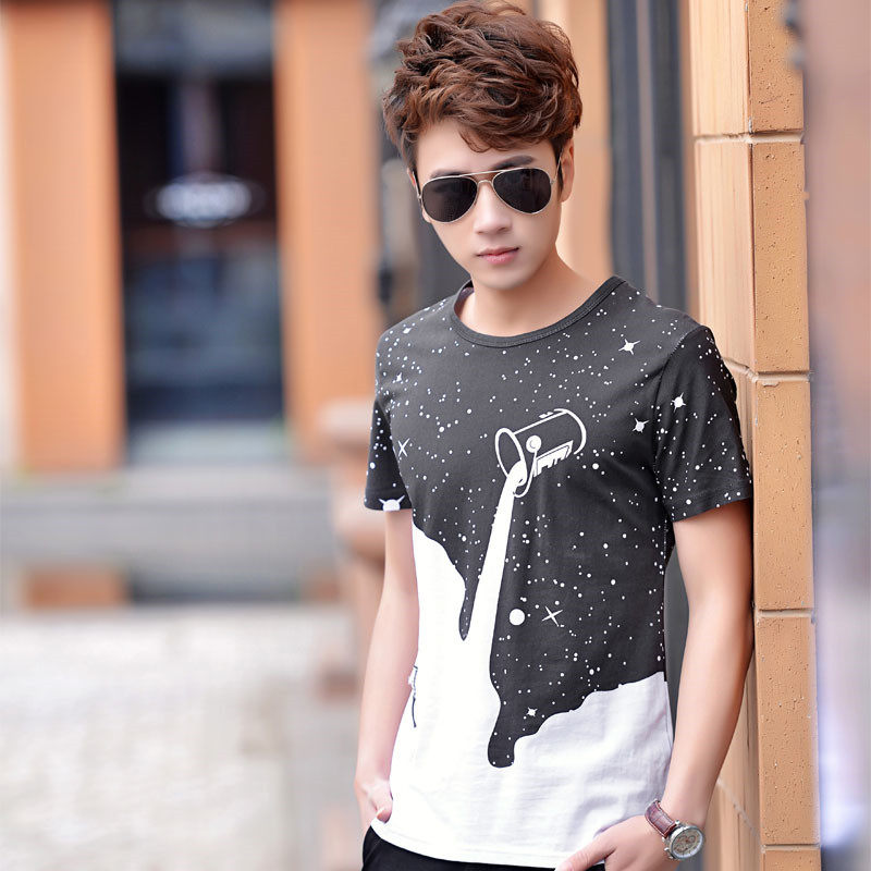 snowshine3 #3001 Men Boy Summer Cotton Tees Shirt Short Sleeve Star Printed T-Shirt Clothes free shipping