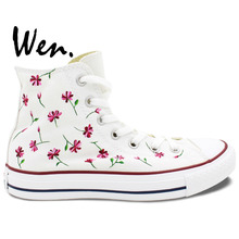 Wen White Hand Painted Shoes Design Custom Pink Floral Flower Women's High Top Canvas Sneakers for Birthday Gifts