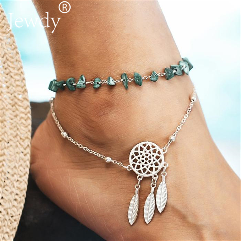 2PCS Bohemian Dreamcatcher Anklets Set For Women Green Stone Vintage  Handmade Anklet Bracelet on Leg Beach Ocean Jewelry 2019 c7a426929704