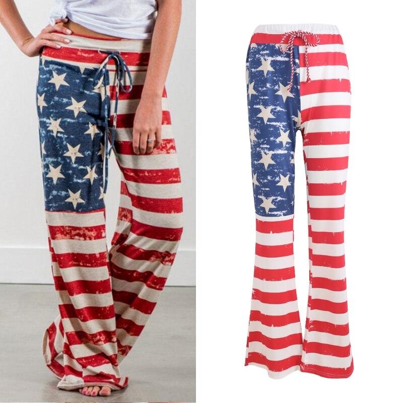 Mujeres bandera americana suelta cordón vintage rayas patchwork impreso largos Pantalones