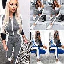 2019 Women New Zipper Striped Hooded Long Sleeve Loungewear 2PCS Tracksuit Set