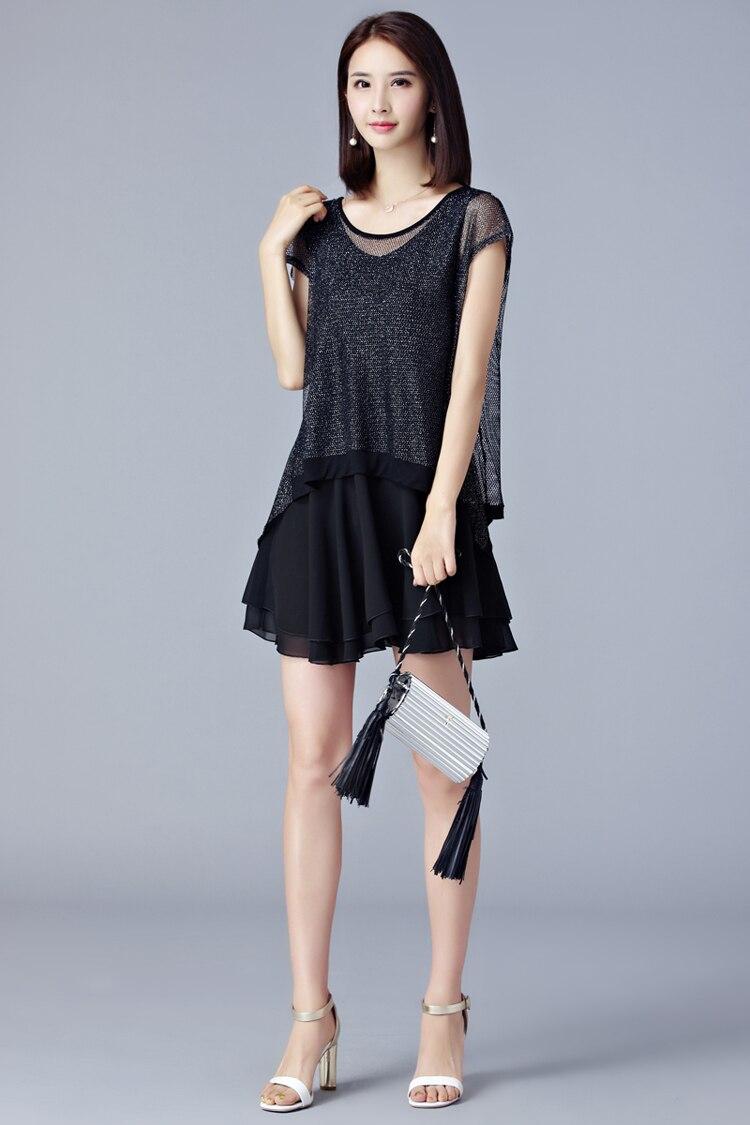 Fashion Black Ladies Dress Korean Chiffon Dress Female Plus Size ...