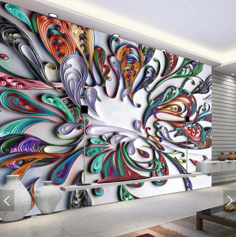us $9 99 50% off 3d european abstract colorful flower mural wallpaper creative wall art floral photo wall paper roll bedroom contact paper custom in