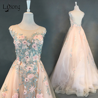 Abiye Peach Floral 2 Pieces Evening Dresses With Detachable Train Pearls Beaded Evening Gowns Abendkleider Pretty Sheer Back