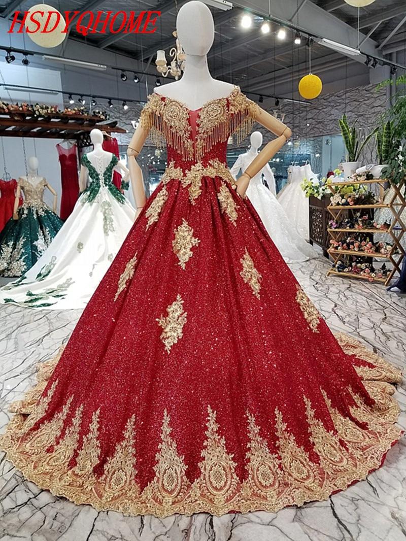 HSDYQHOME bourgogne robes de soirée incroyables Appliques en or robes de soirée robes de luxe robe de bal à paillettes