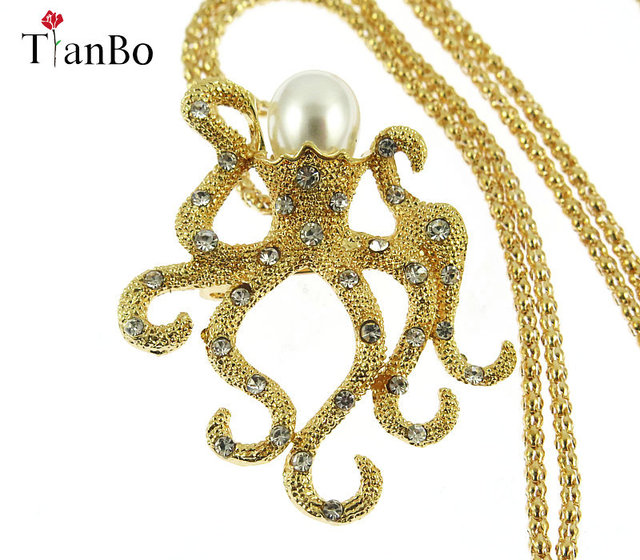 e4318c1c9c6 TianBo pearl crystal Octopus Charms Necklace Sea Animals Pendant   Chain  For Men Women Gold