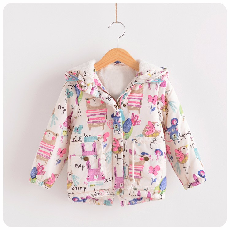 Retail 2016 girl's warm cotton-padded clothes in winter Cartoons graffiti jacket Add wool