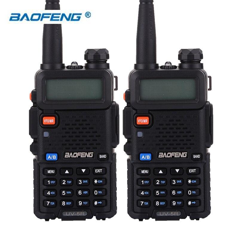 BaoFeng 2 pcs UV-5R Talkie Walkie à Deux Voies Radio 128CH 5 W VHF 136-174 Mhz et UHF 400 -520 Mhz