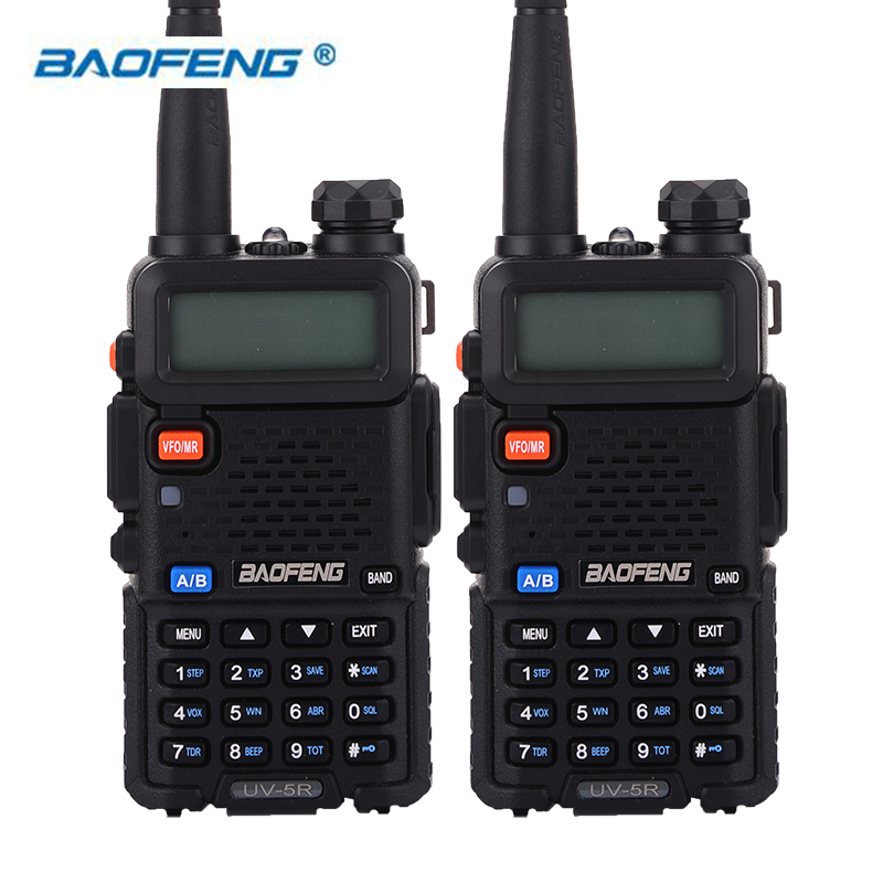 BaoFeng 2pcs UV-5R Walkie Talkie Two Way Radio 128CH 5W VHF 136-174Mhz & UHF 400-520Mhz