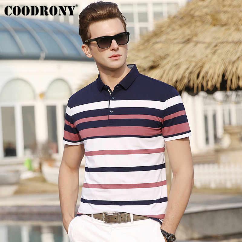 Coodrony Musim Panas Streetwear Kasual Plus Ukuran Pria Merek Lembut Katun T Shirt Pria Bergaris Lengan Pendek T-shirt Pria s95058