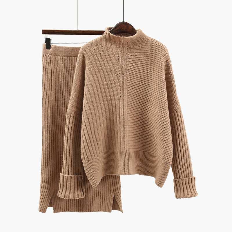 Solid Khaki Womans Winter Suits Female Sweater + Pencil Skirt Sets Casual Half Turtle Neck Warm Suits Women Thick Sets Womans