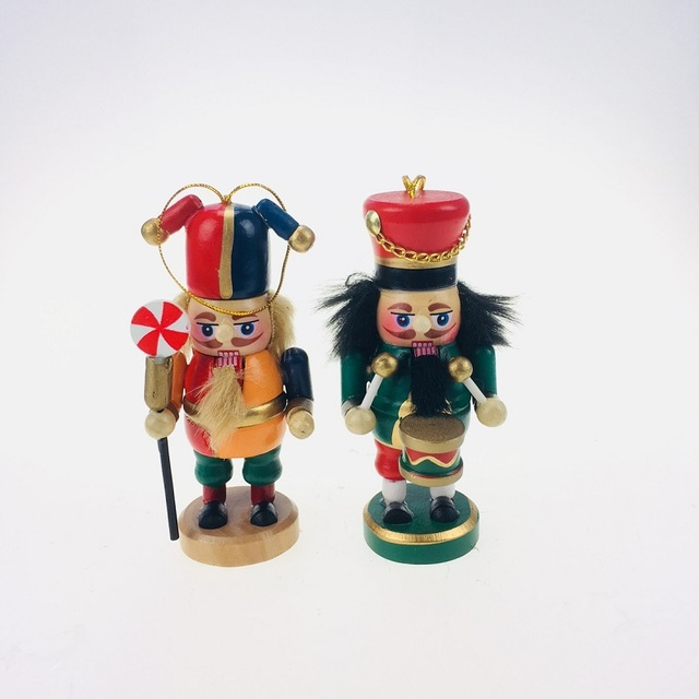 Us 935 28 Off10cm Colorful Nutcracker Character Christmas Wooden Soldier Drummer For Kids Christmas Gift Tabletop 2pcsset In Figurines