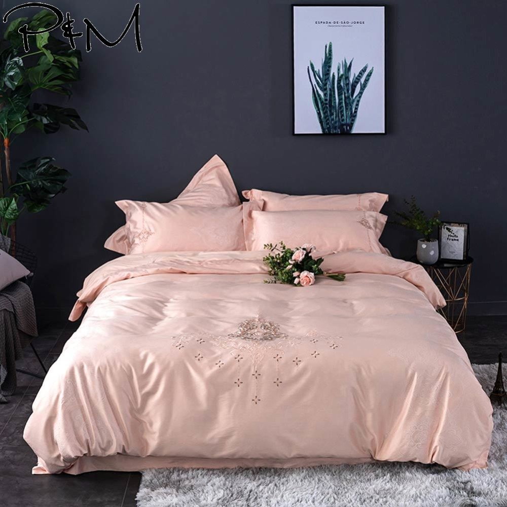 2019 Light Pink European Flowers Bedlinens Queen King Size Silk Cotton Jacquard Duvet Cover Set Embroidery Pillowcases2019 Light Pink European Flowers Bedlinens Queen King Size Silk Cotton Jacquard Duvet Cover Set Embroidery Pillowcases
