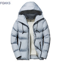 FGKKS Winter Men Parka Jacket 2019 Men's Winter Solid Color Simple High Quality Casual Down Jacket Warm Thick Hooded Parkas Male