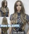 Natural Ombre peruca de cabelo sem franja lateral da pele parte Top de ouro da mulher Mix marrom longo ondulado peruca frete grátis
