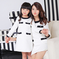 2pcs/lot Mom and daughter me Mother matching one-piece Dresses clothes family clothing autumn spring outfits White Blue
