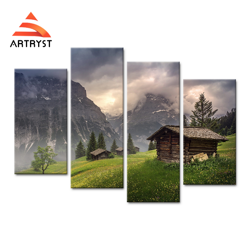4panel art wall mountain house tree fog landscape canvas painting HD - Home Decor - Photo 1