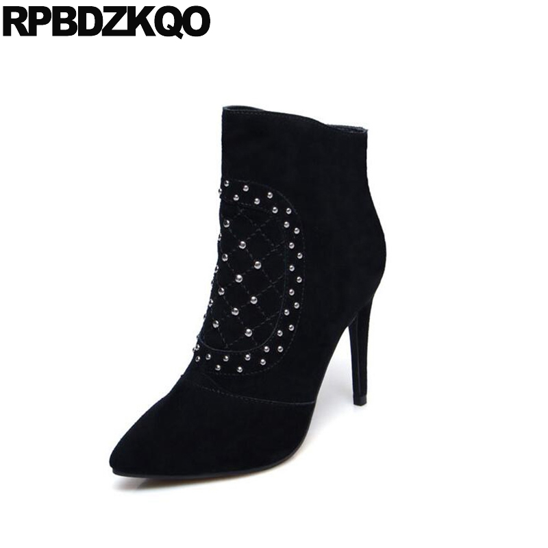 Suede Side Zip Boots Black Thin Stud High Heel Booties Shoes Short Rivet Luxury 2017 Stiletto Pointed Toe Ladies Female Fashion metal heel boots high ladies ankle short autumn shoes pointed toe stiletto booties 2017 suede slip on female new nude fashion
