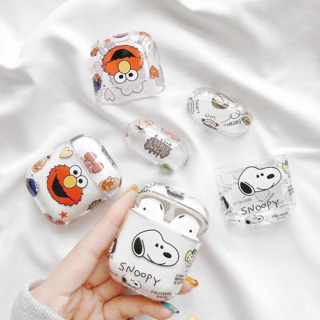 Cartoon transparent PC protective Case Suitable for airpods earphone protector cute bluetooth headset protector