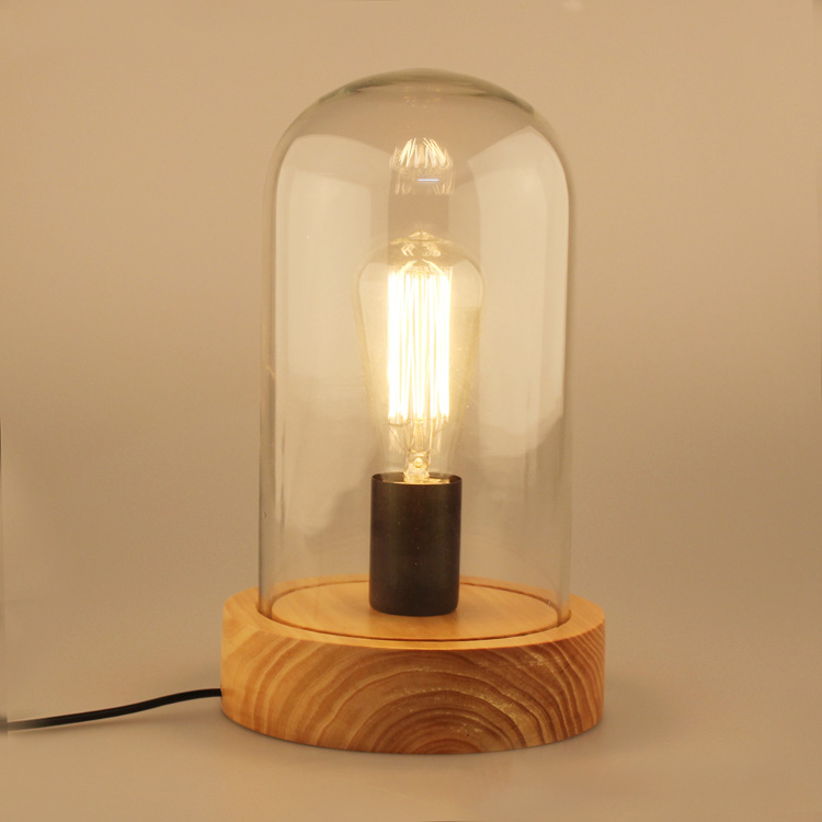 ФОТО American fashion bedside vintage study lamp glass cover table lamp with E27 wood base