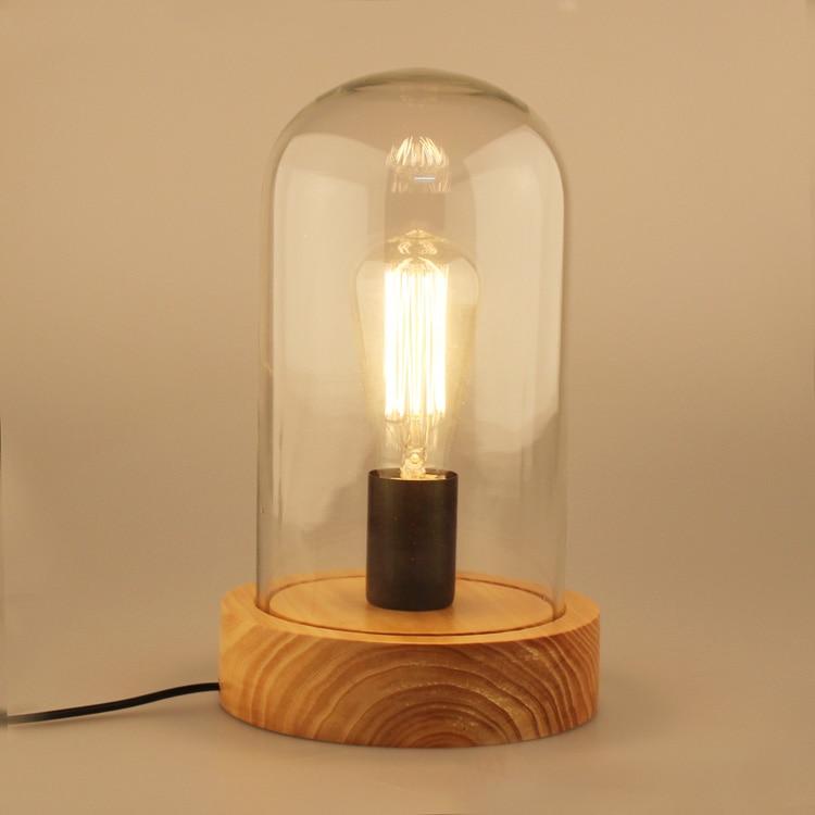 где купить  American vintage study bedside dia18cm wood base desk lamp loft clear glass cover E27 Edsion bulb table lamp 110-240V  по лучшей цене