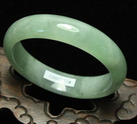 free shipping ~$wholesale_jewelry_wig$ 57mm Certified Natural Green Jadeite Bangle Bracelet Handmade
