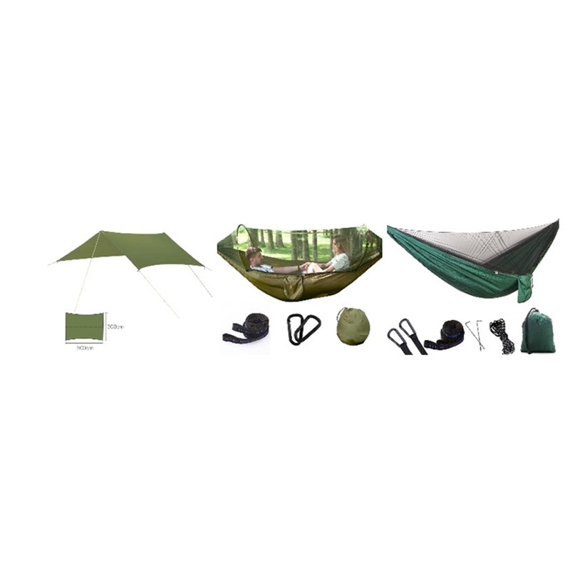 Outdoor Parachute Cloth Hammock With Mosquito Net Ultra Light Nylon Double Army Green Camping Aerial Tent Creative Hammock-612