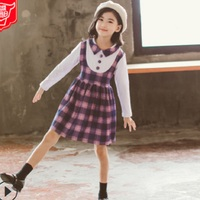 Girls Dress New 2019 Summer and Spring Cute Children's Dress Girls 2 Plaid Colors Lolita Style Long Sleeve Dress Size4 14 ly201