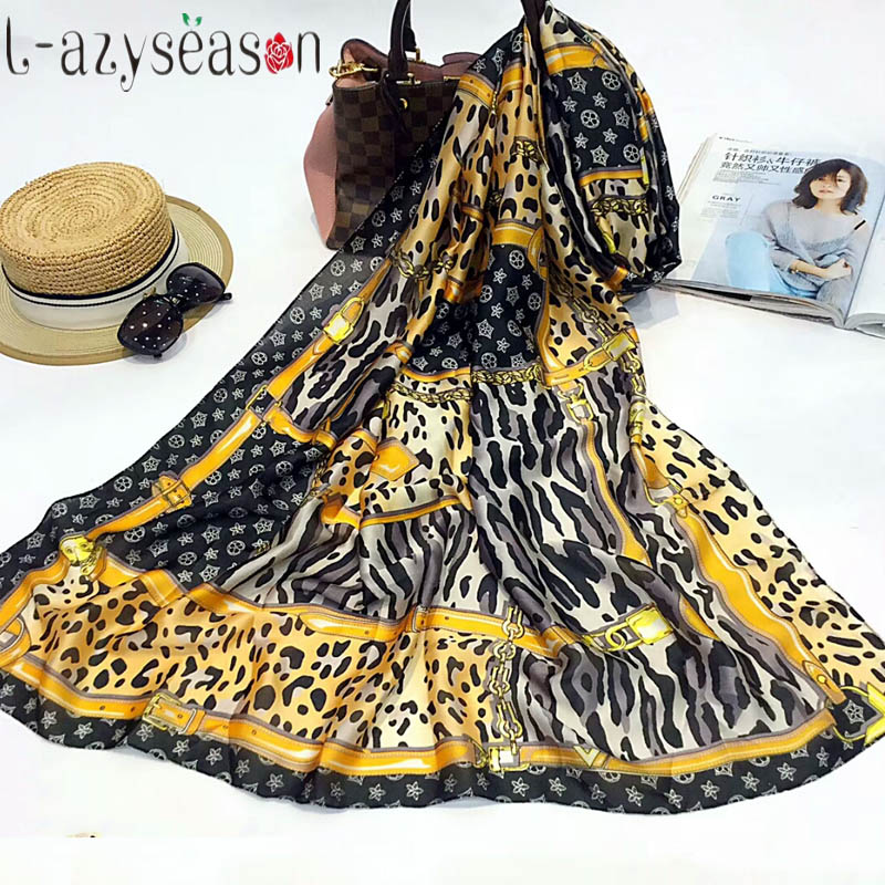 2019 New Fashion Head Silk   Scarf   Women luxury brand Leopard print foulard femme Silky   Scarves     Wraps   Lady's shawl high quality