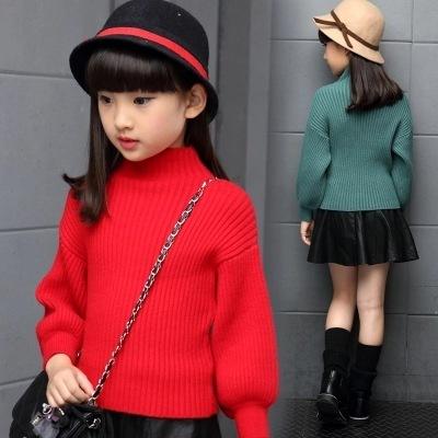 Niñas de Invierno y Otoño Suéter de Lana Suéter Cardigan Freeshipping rojo rosa verde