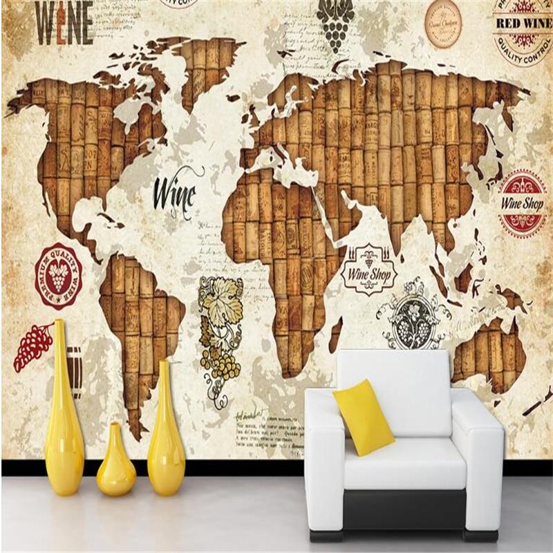 Купить с кэшбэком beibehang behang Custom High Quality Wallpaper 3d Wall Stickers Mural Vintage World Map Wine Red Oak Wallpaper Restaurant Bar