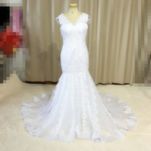 Elegant Long Mermaid Lace Wedding Dresses Applique White Ivory Hot Off-the-shoulder Bridal Gown Vestido De Noiva Custom W1522