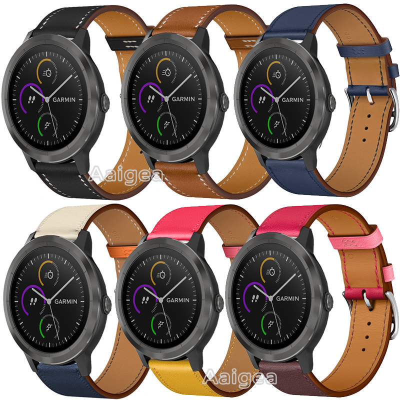 Fashion Genuine Leather Watch Band Strap For Garmin Vivoactive 3 Colorful Replacement Wrist Band Strap For 20mm Smart Watch Gift