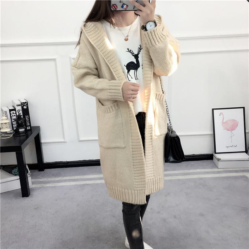 HTB1z0BOSVXXXXXUXFXXq6xXFXXXd - Women Long Knitted Sweater Coat Hooded Sweater Cardigans JKP039