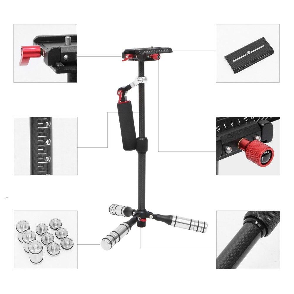 Selens Mini stabilisateur de main en Fiber de carbone steadicam pour caméra vidéo DSLR caméra Portable lumière constante mieux que S40 S60T