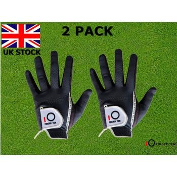Men's Golf Gloves Rain Hot Wet Grip Value 2 Pack Left Hand Right Black Green Durable Fit Small Medium Large XL Gloves Finger Ten