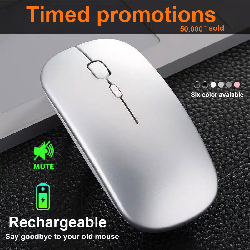 Do Dower Rechargeable Wireless Mouse Slient Button USB Mini Optical Ultrathin Mini Mice With Charging Cable For Computer Laptop