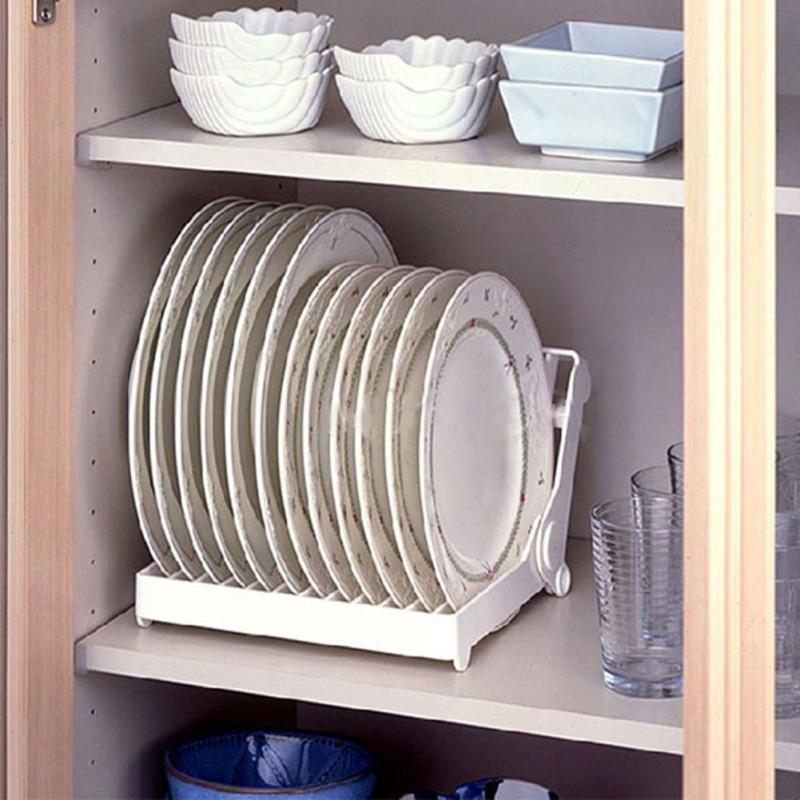 Kitchen Cabinets Plate Rack: Foldable Dish Plate Drying Rack Organizer Drainer Plastic
