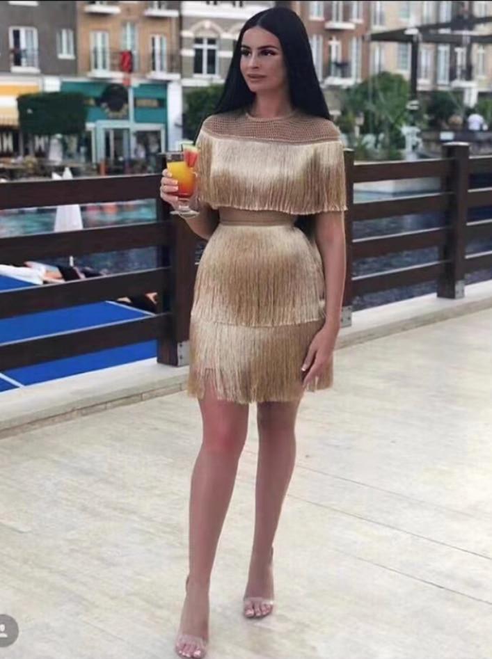 High Quality Gold Black Short Sleeve Tassel Bodycon Dress Club Party Bodycon Dress