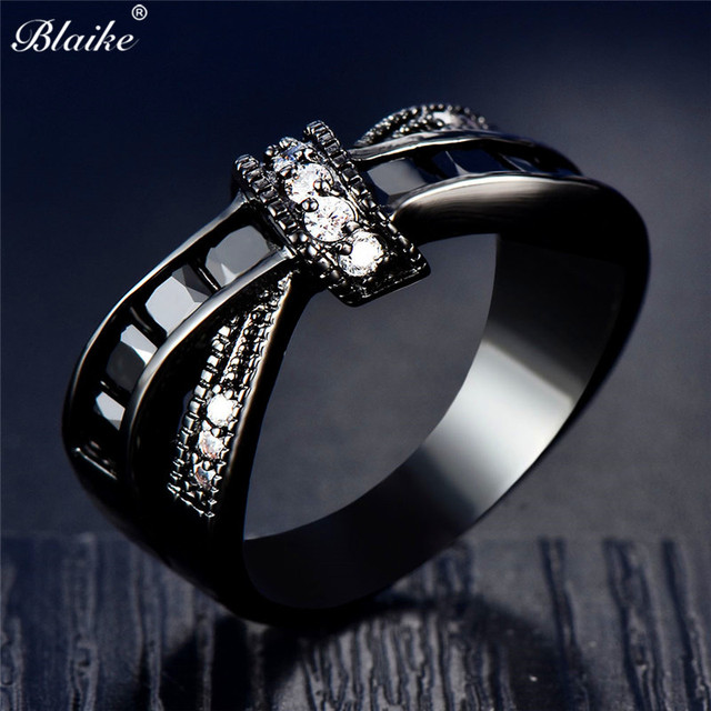 Blaike New Fashion Black Gold Filled Cross Rings For Women Black/Blue/Red/Green/White Round Stone Cubic Zirconia Ring Jewelry
