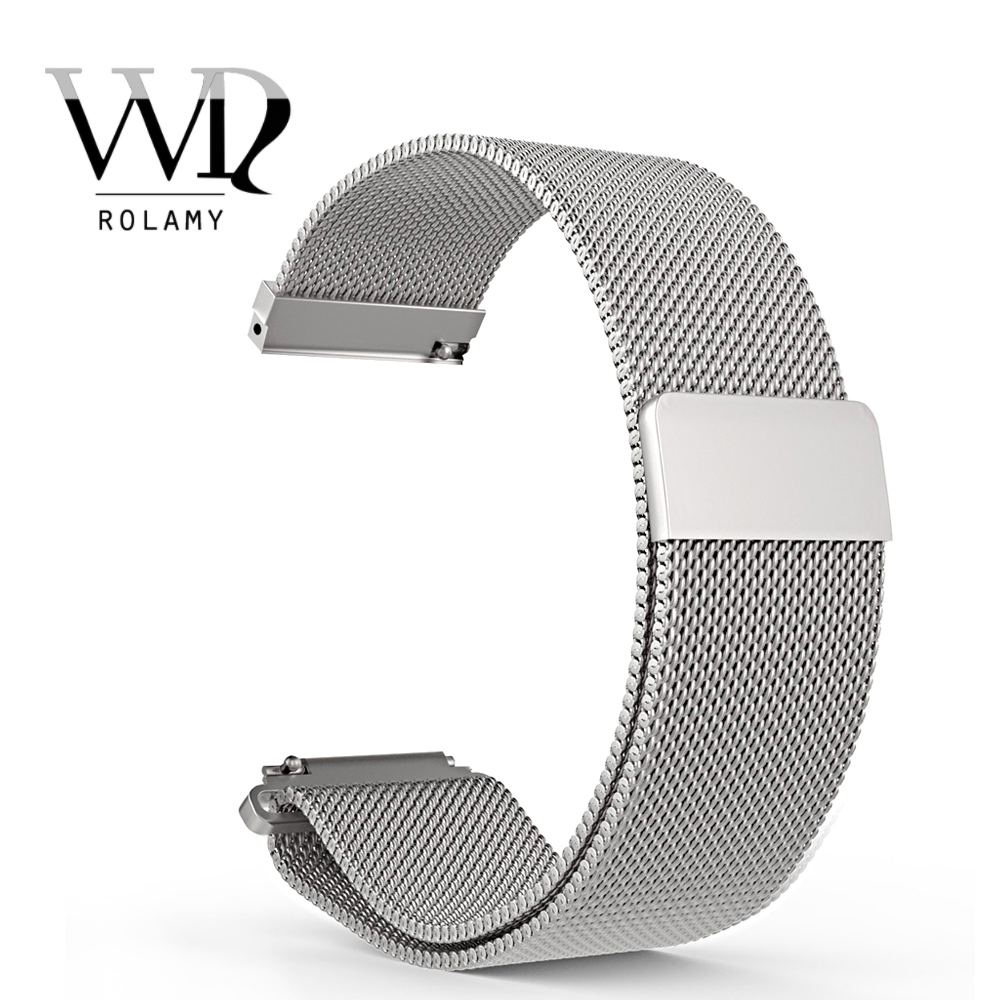 Rolamy 16 18 20 22 23mm Silver Black Rose Gold Blue Mesh Milanese Loop Steel Bracelet Wrist Watch Band Strap Magnetic Closure in Watchbands from Watches