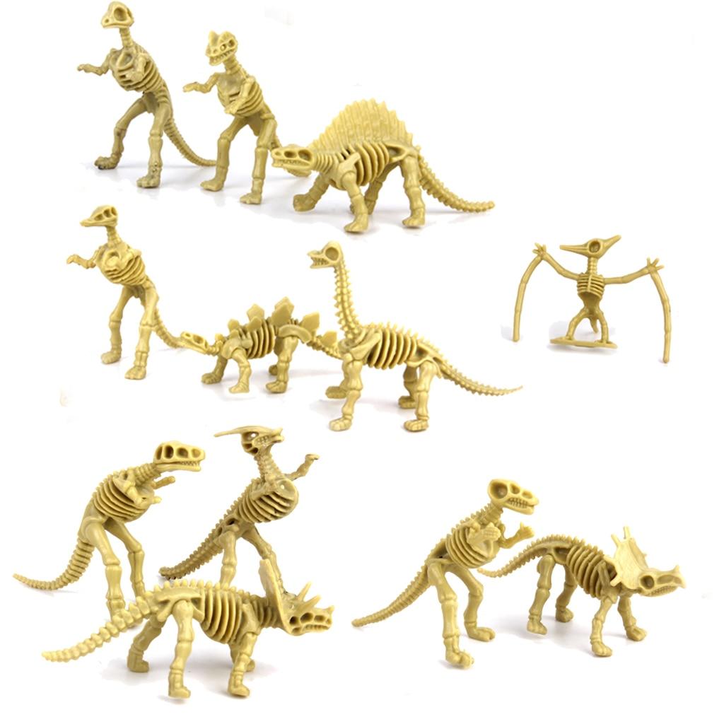 Assorted Dinosaur Prehistoric Fossil Skeleton Figures 12pcs Model Building Kits