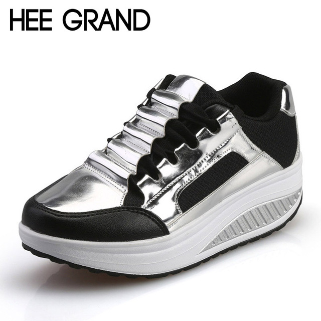 HEE GRAND Silver Platform Shoes Woman Creepers 2016 Autumn Loafers Slip On Casual Women Shoes Round Toe Flats Size 35-40