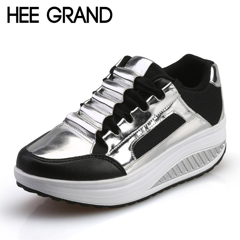 HEE GRAND Silver Platform Shoes Woman Creepers 2017 Autumn Loafers Slip On Casual Women Shoes Round Toe Flats Size 35-40 XWD4285 exotao high waist denim pants for women vintage ripped holes jeans harem pantalon 2017 autumn vaqueros mujer pockets pantalon page 6