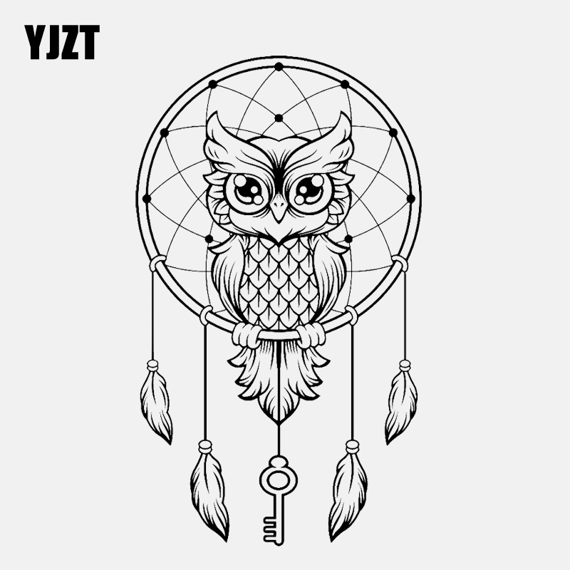 YJZT 9.9CM*17CM Fashion Dreamcatcher Owl Dreams Vinyl Black/Silver Car Sticker C22-0951