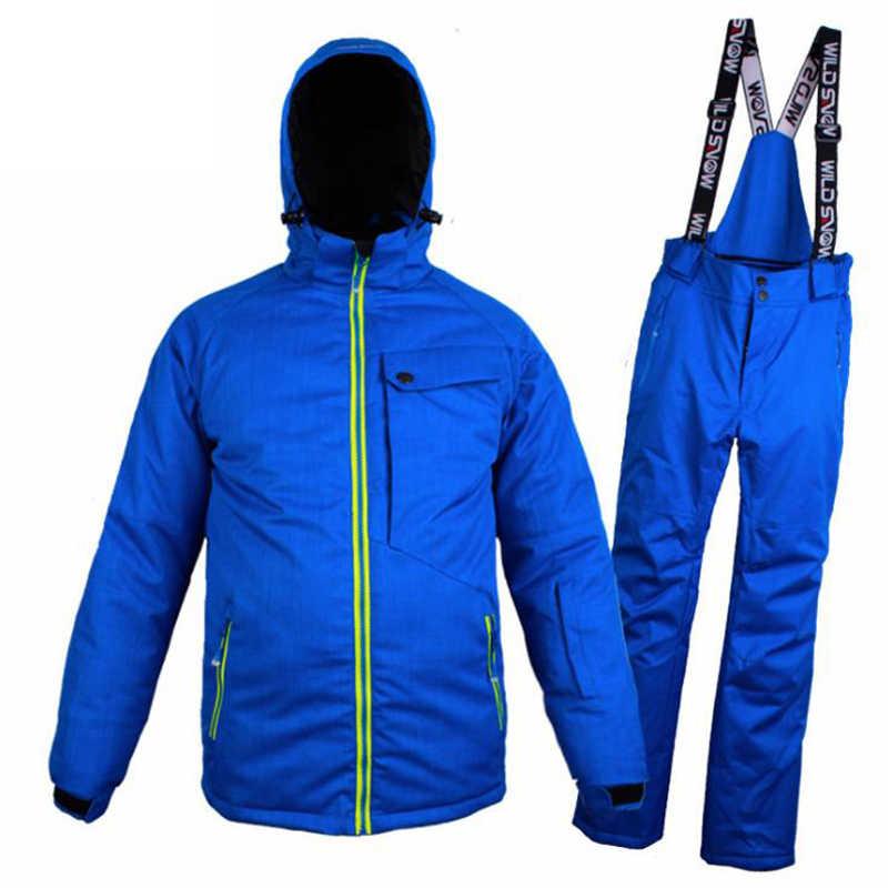 Wilden Schnee Männer Ski Anzug Winddicht Wasserdichte Warme Verdicken Ski Jacke Und Schnee Hosen Sets Winter Skifahren Und Snowboarden Anzüge