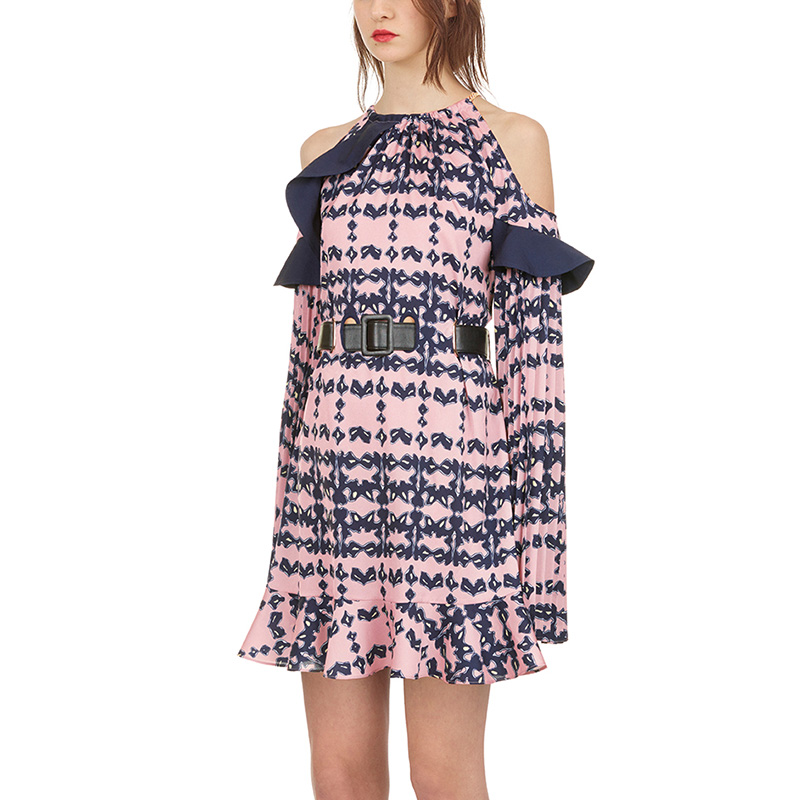 f07bbcbbac7b26 2018 Autumn Women Sexy Cold Shoulder Halter Ruffle Printed Self Portrait  Dress Vestidos Casual Long Sleeve Party Dress With Belt