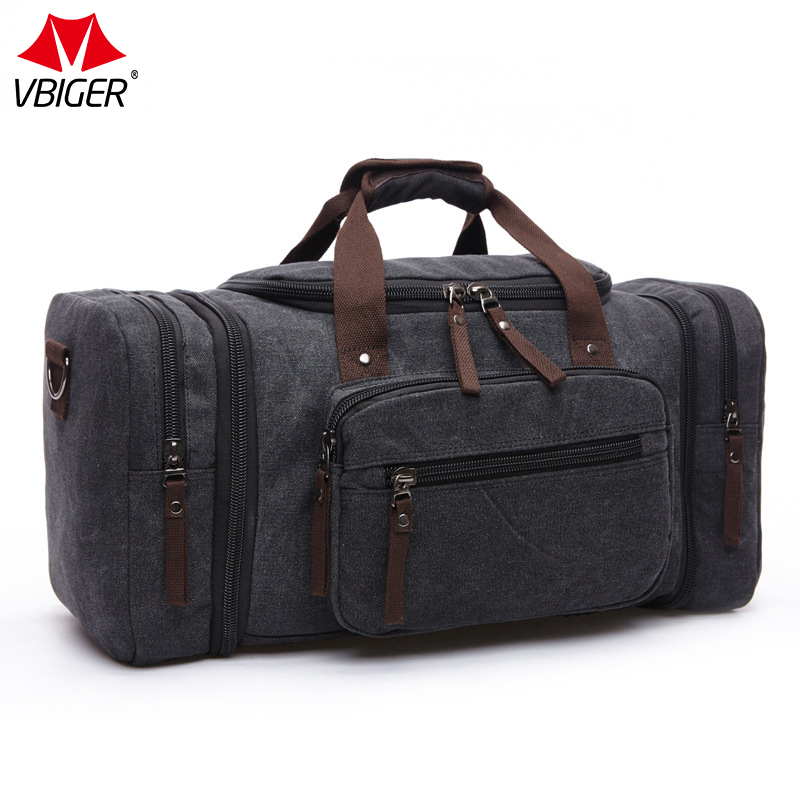 Vbiger Canvas Men Travel Bags Carry on Luggage Bags Men Duffel Bag Travel Tote Large Weekend Bag Overnight Large Capacity genuine leather men travel bags carry on luggage bags men duffel bags travel tote large weekend bag overnight